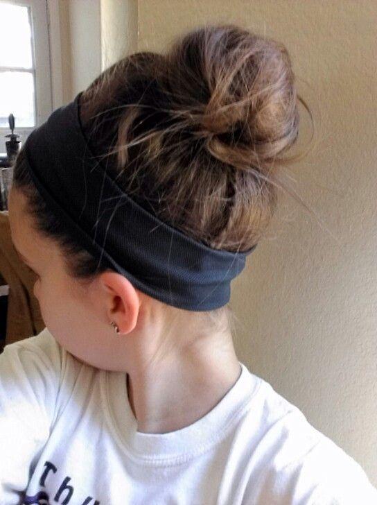 messy bun with sports headband-perfect