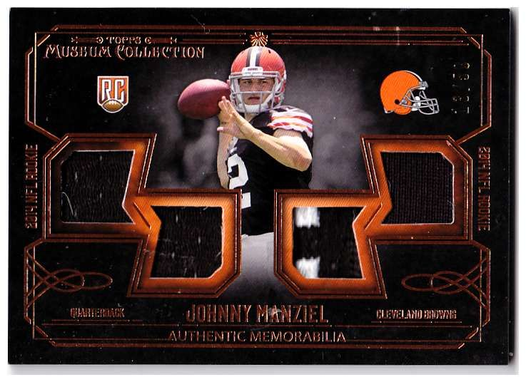 Johnny Manziel Browns Trading Card | Topps Museum Collection - Rookie Quad Relics Copper Patch (#'d to 50)