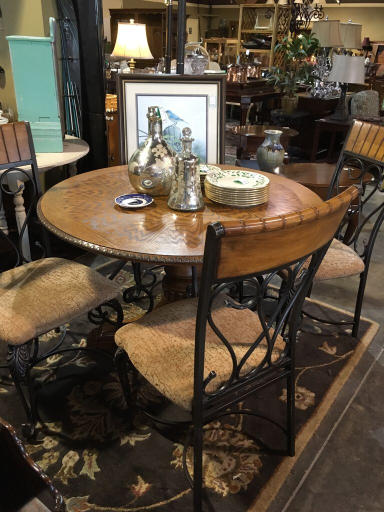 Solid Wood Round Table And Chairs Wrought Iron Auburn SKU - Solid wood round dining table for 4