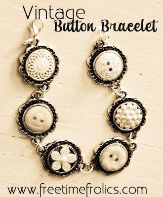 Handmade White Vintage Button Bracelet
