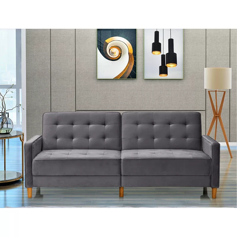 Stetson Velvet 80 Square Arms Sofa Bed Sofa Sofa Bed Upholstered Sofa Bed