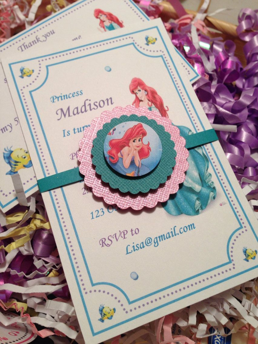 New Mermaid Princess Ariel Invitations By Yourpartystore On Etsy