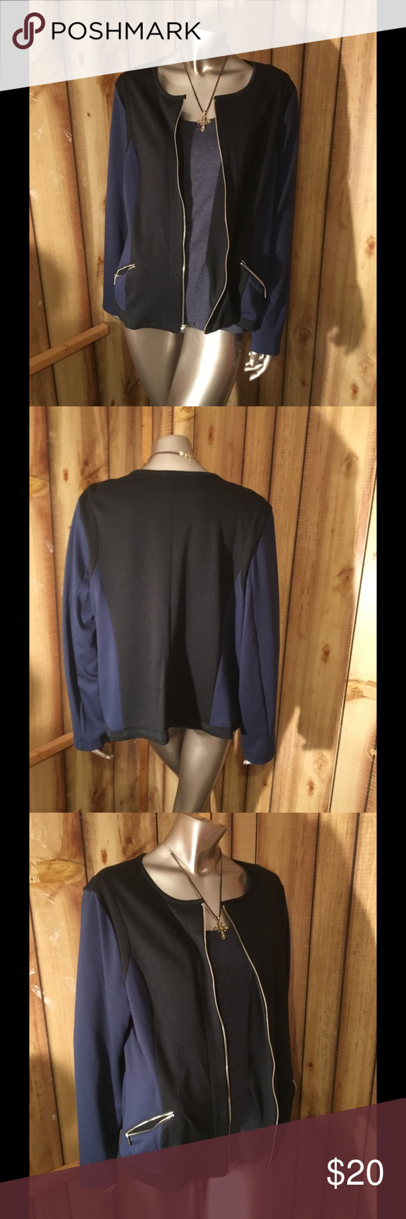Blazer/jacket This jacket is color block blue and black. Zipper front and zipper pockets. Only worn 1 or 2 times.  Non smoking non pet home. Notations Jackets & Coats Blazers