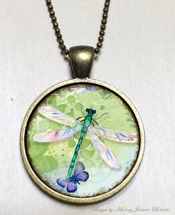 Water Colored Dragonfly on Bronze Bezel Pendant by Just4FunDesign, $10.00