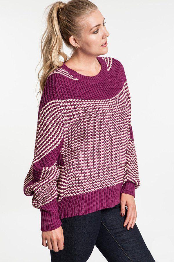 f1ab5b2e423 plus size magenta chunky knit hi-lo striped sweater with dolman sleeve   plussizetops  plussizesweaters  plussizefashion