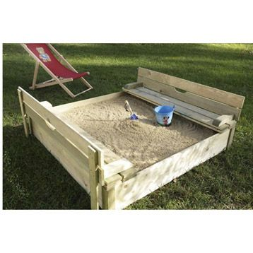 Bac à sable carré avec couvercle et banc, 120x120 cm, CERLAND - Maisonnette En Bois Avec Bac A Sable