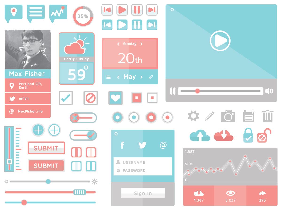 14 Free App and Web Design GUI Kits | D E S I G N | Pinterest | Flat ...