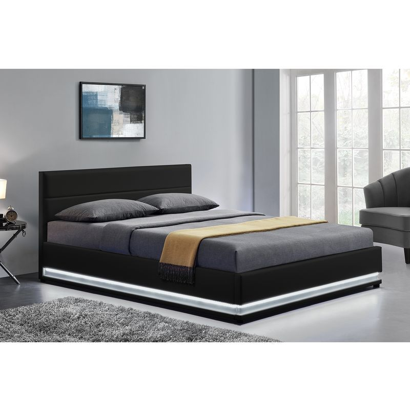 lit new york structure de lit en simili noir avec rangements et led int gr es 160x200 cm