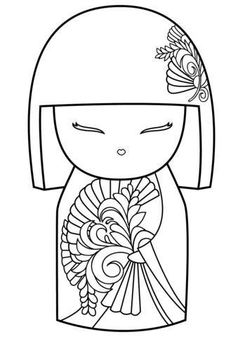 Kimmidoll Coloring Page Kokeshi Dolls Japanese Quilts Doll Drawing