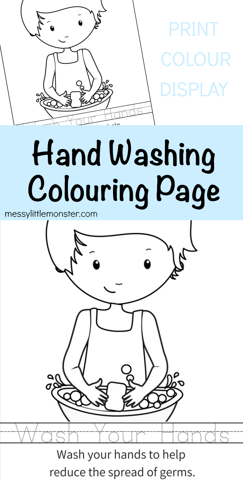 Hand Washing Colouring Page Activity For Kids Hand Washing Poster Kids Writing Kids Learning Activities [ 1542 x 780 Pixel ]