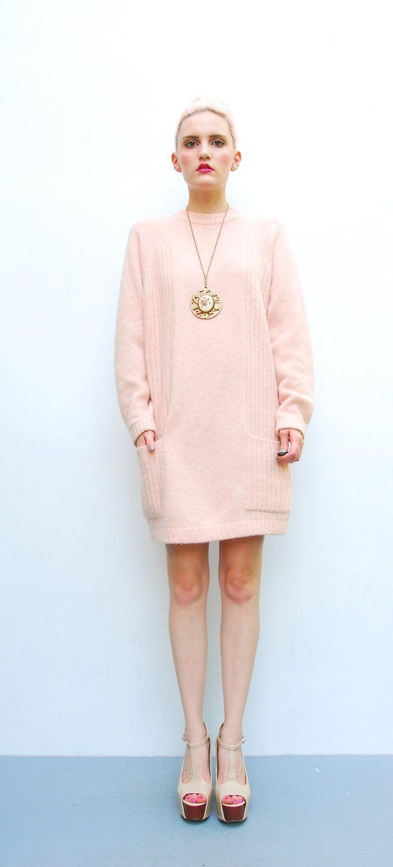 80s Sweater - Pink Angora Sweater Mini Dress - Oversized Long Wool ...