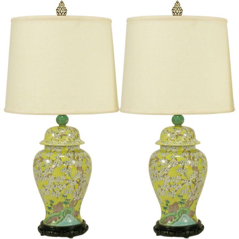 Pair Hand Painted Yellow Glaze Ginger Jar Table Lamps JarsJar LampModern