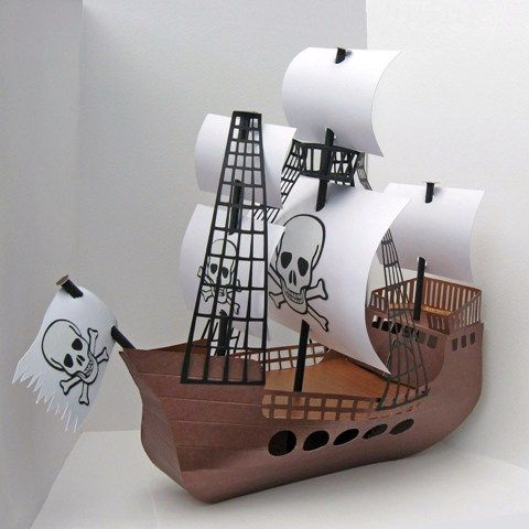 Most boys love pirate ships and this craft template is no for Cardboard pirate ship template