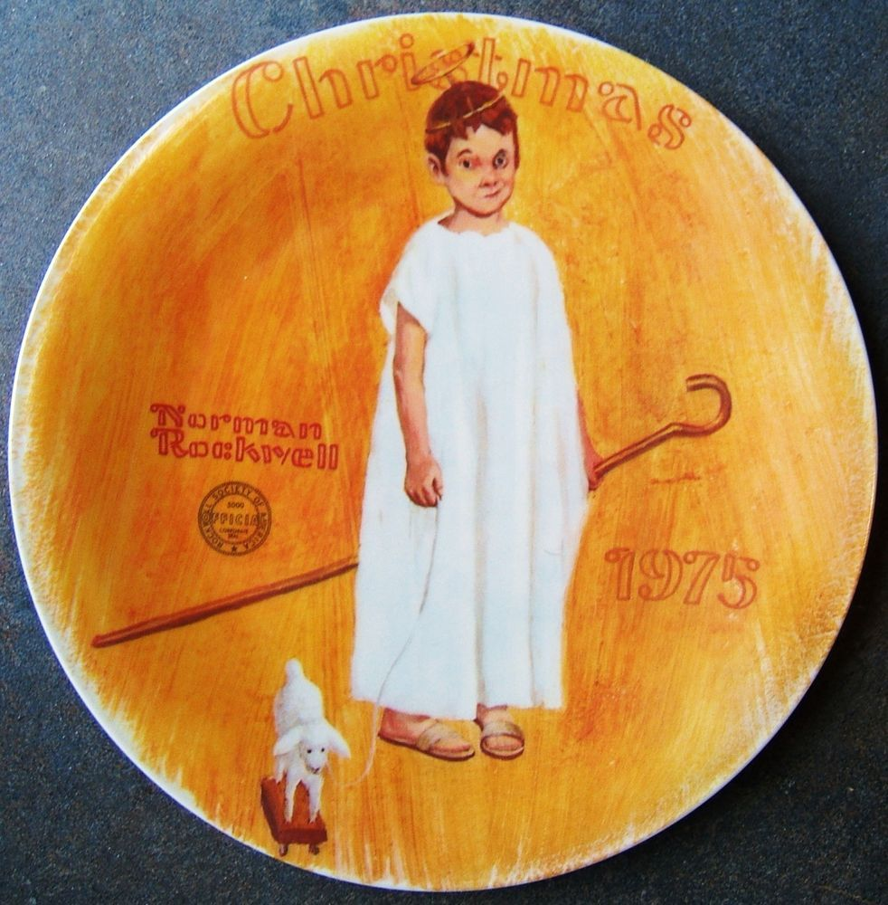 Norman Rockwell Angel Black Eye Knowles Christmas Plate 1st Limited ...