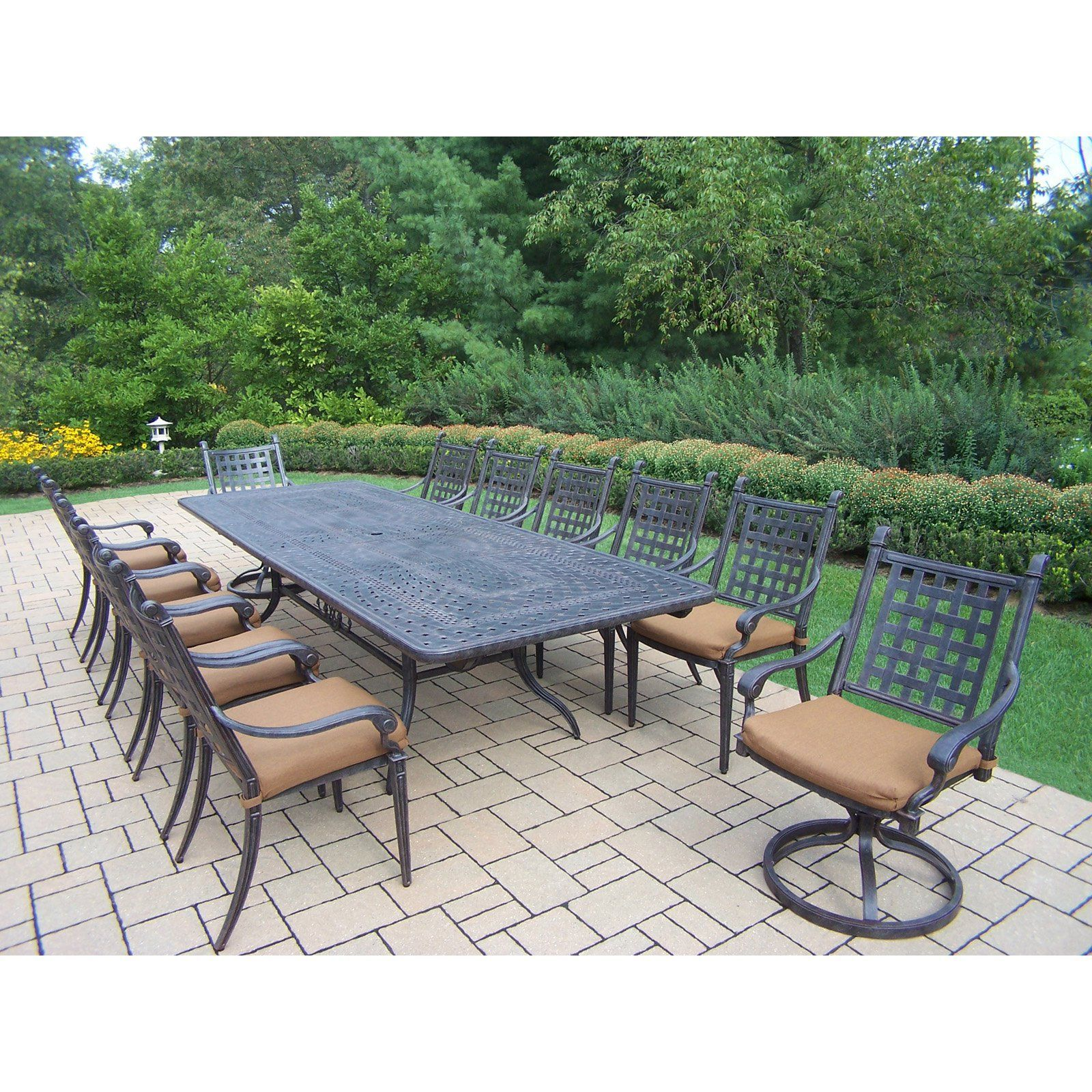 Oakland Living Belmont 13 Piece Extendable Patio Dining Set With
