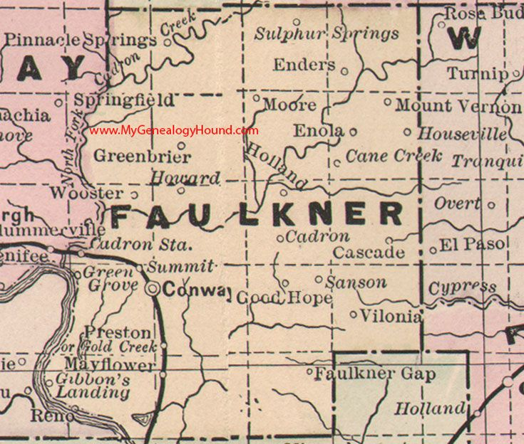 Faulkner County Arkansas Map Conway Greenbrier Cadron - Ar map