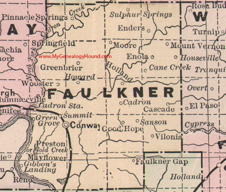 map of faulkner county arkansas Faulkner County Arkansas Map 1889 Conway Greenbrier Cadron map of faulkner county arkansas