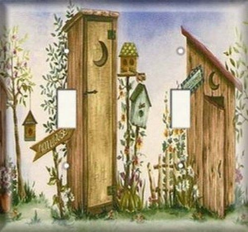 Double Light Switch Plate Cover   Outhouse SnazzySwitch Http://www.amazon.