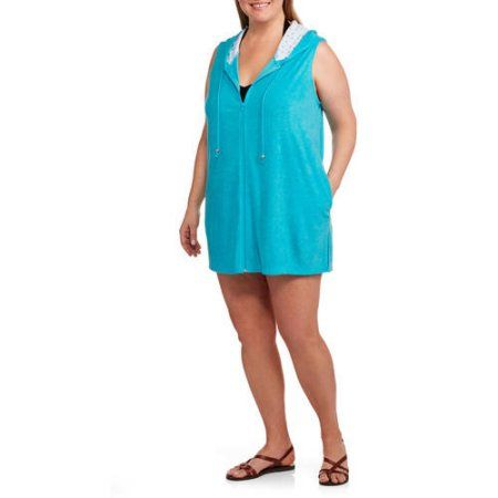 7bd30c72032ab Catalina Women's Plus-Size Zip-Front Hooded Terry Swim Cover-Up, Size: 2XL,  Blue