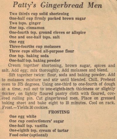 Gingerbread Men Recipe Clipping - date unknown - I love old recipe clippings.