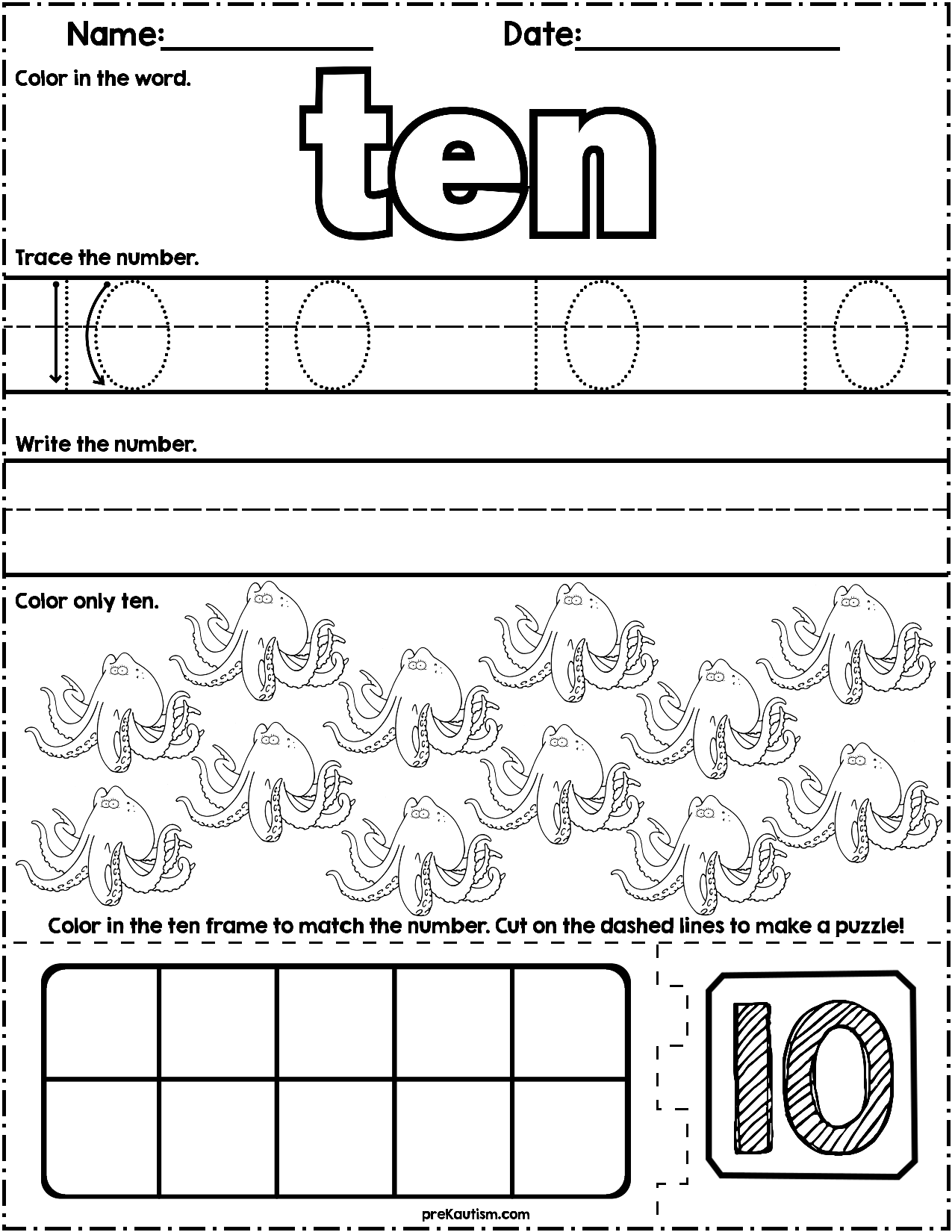Ocean Animals Math Practice Numbers 1 10 Worksheets