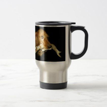 #Funny Dog Carrying Horse Teeth Bone Travel Mug - #office #gifts #giftideas #business