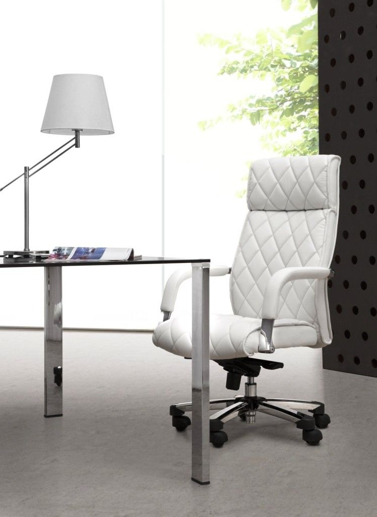 Furniture, Luxurious White Leather Swivel Chair With Minimalist Glass Desk  And Table Lamp: Cool Swivels Chairs To Optimize Your Productivity