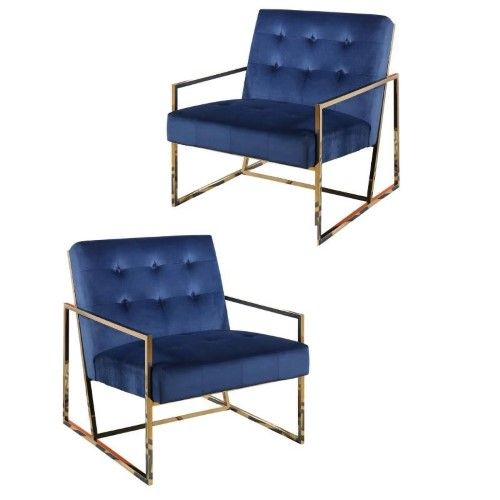 Best Set Of 2 Accent Chairs In Gold And Blue Accent Chairs 640 x 480