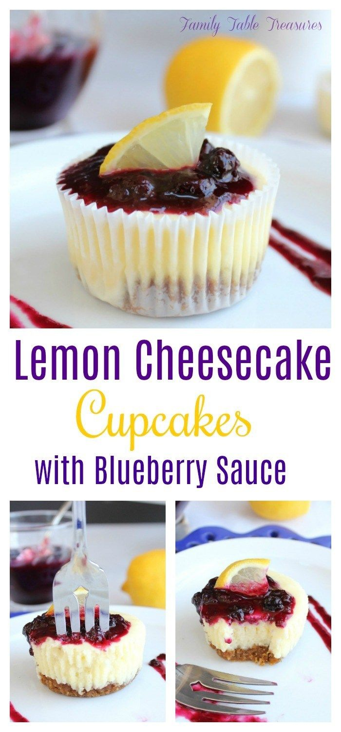 Lemon Cheesecake Cupcakes (with Blueberry Sauce) #cheesecakecupcakes