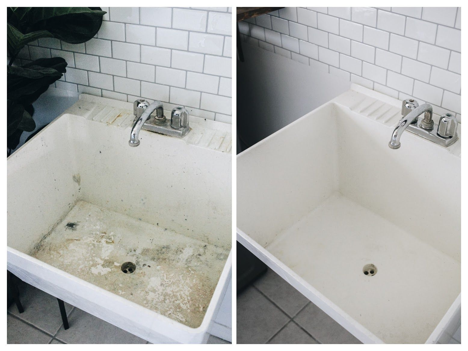 How To Clean A Stained Utility Sink In 2020 Sink Cleaning Hacks