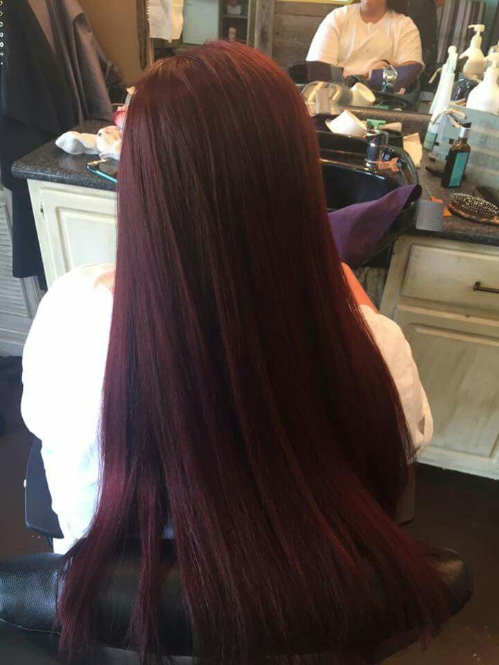 My hair, done 08/04/16. Violet/Red violet/Brown onto brown hair, no bleach involved