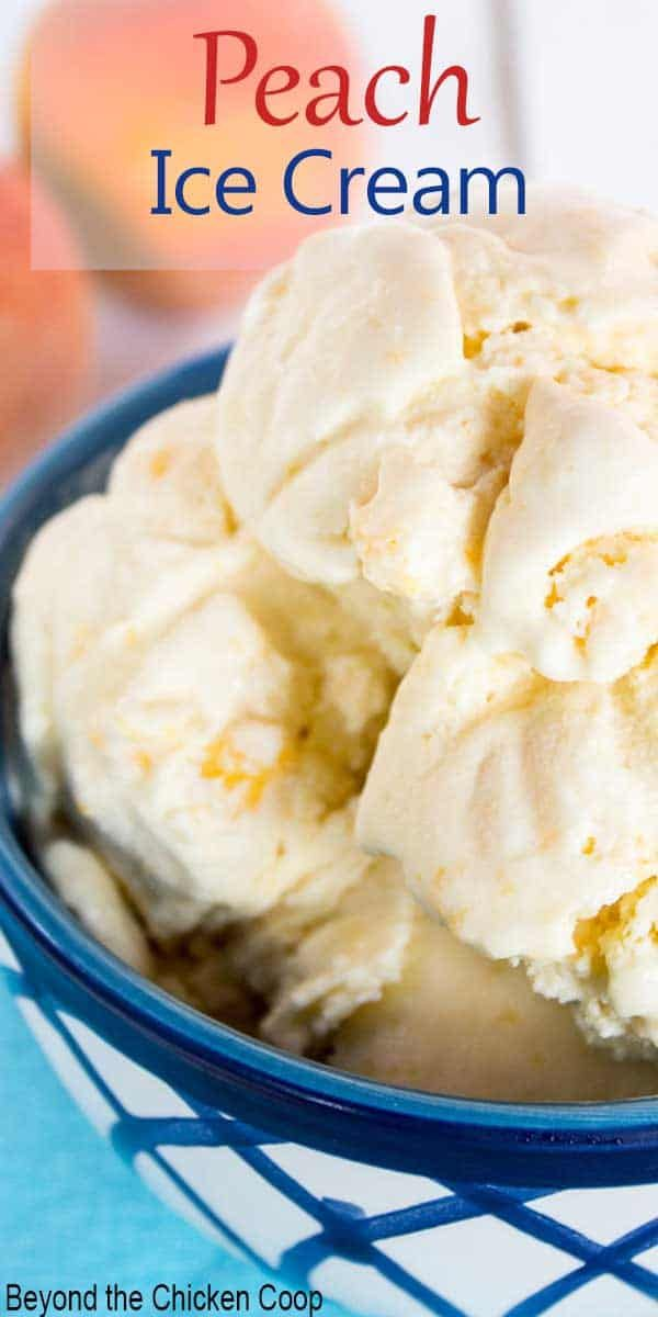 Old Fashioned Peach Ice Cream  is a delicious slow churned ice cream made with fresh peaches. This delicious frozen treat is perfect for hot summer days or whenever you want a delicious dessert.