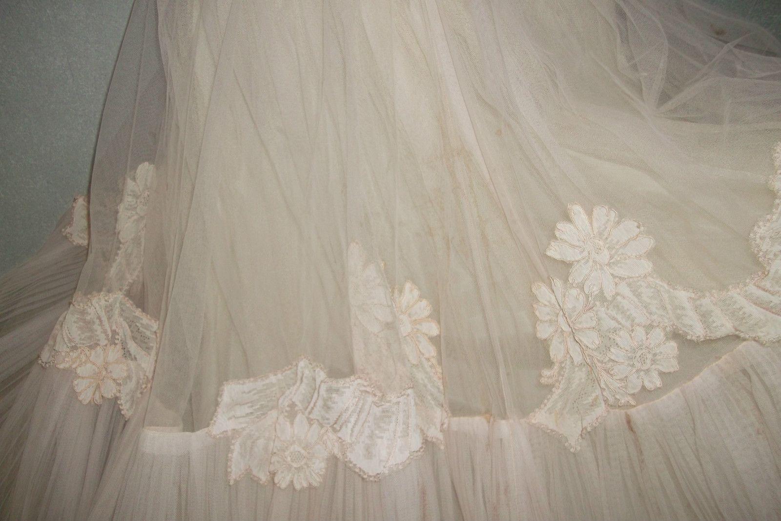 Vintage 50's Rockabilly Wedding Cocktail Dress Veil Sz 6 8 Blush Tulle Net | eBay