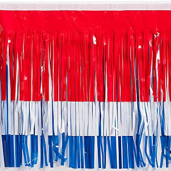 Red White and Blue Vinyl Fringe is an essential part of your parade decorating!  Make colorful parade floats with this shiny fringe