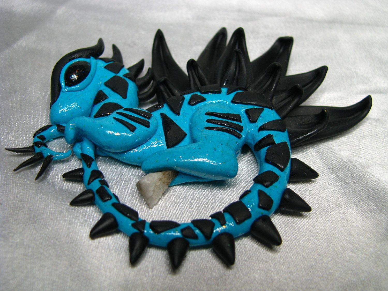 Black/Blue Dragon-Crystal Dragon-Polymer Clay Dragon-Quartz-OOAK by CrystalStarCreatures on Etsy