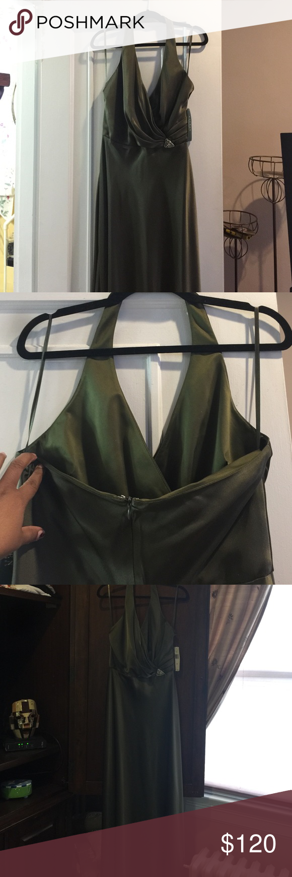 Ralph Lauren olive halter top gownl Just in time for the holidays. Beautiful Ralph Lauren olive colored, halter top gown. Reveals top portion of back but not too much. Very flattering. Bought for themed wedding and the theme changed. Ralph Lauren Dresses Maxi