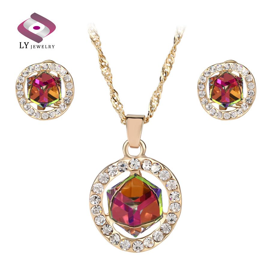 Luxury colorful crystal glass jewelry sets fashion color gold