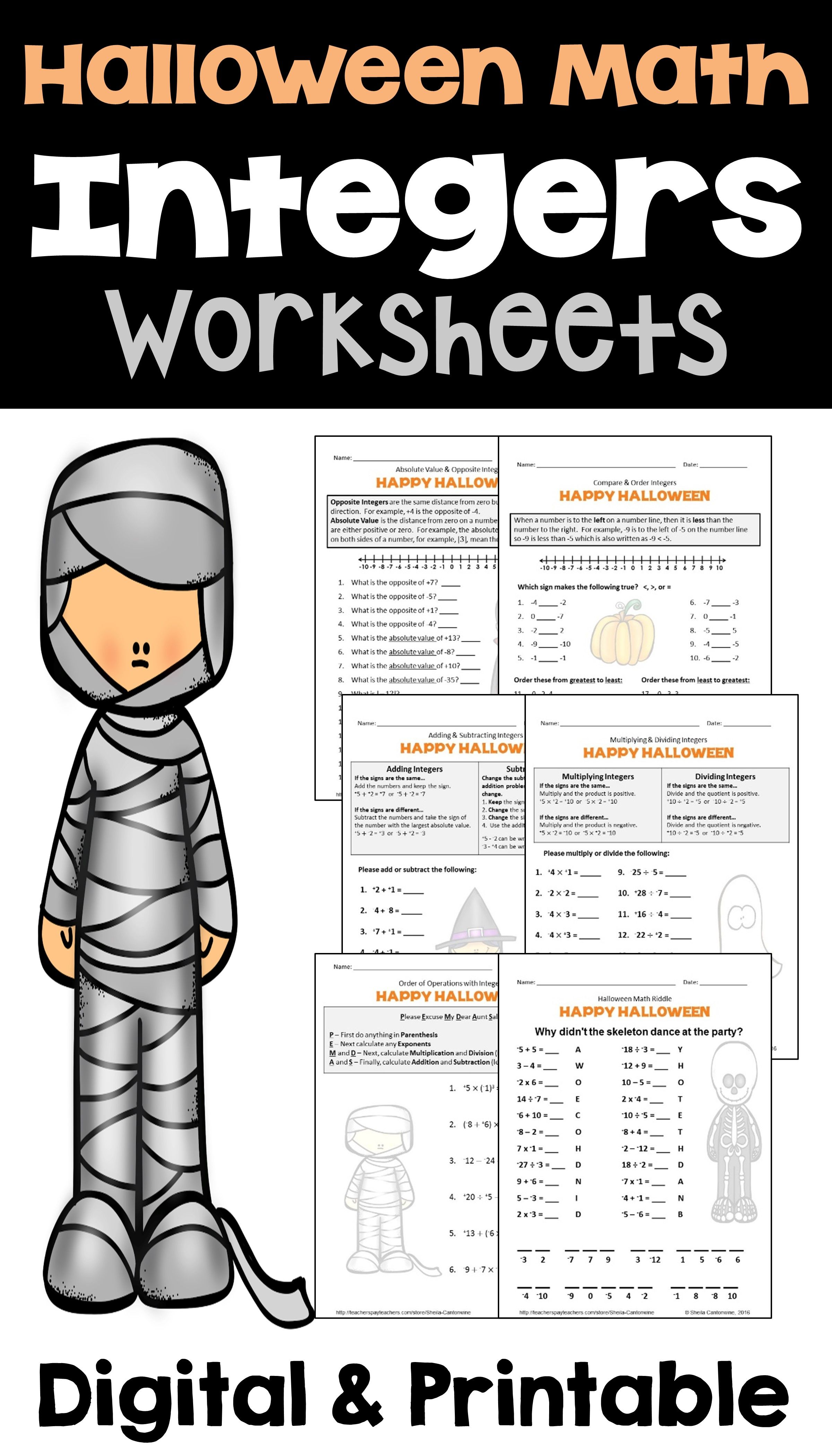 Halloween Integers Worksheets With Digital And Printable