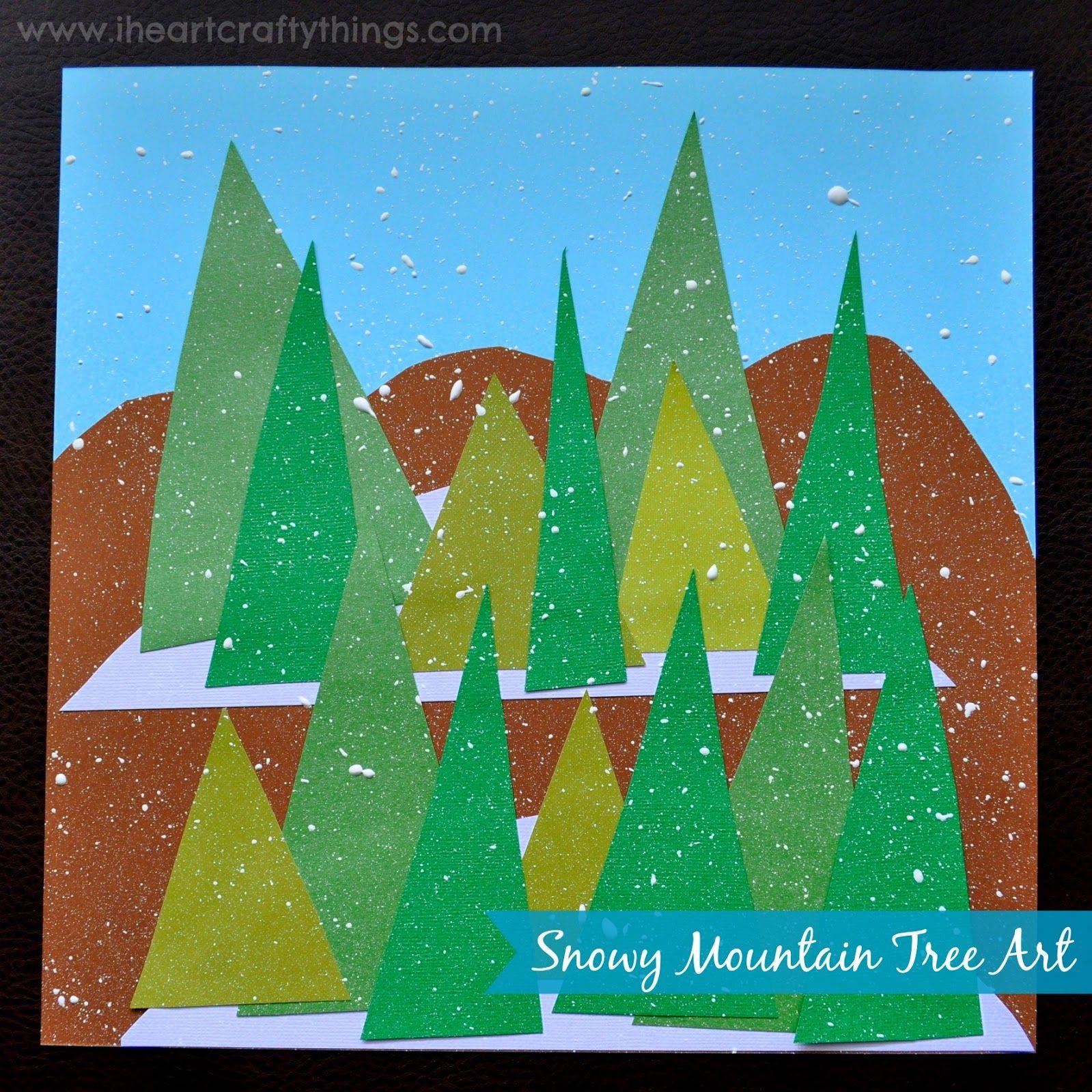 Snowy Mountain Winter Tree Art