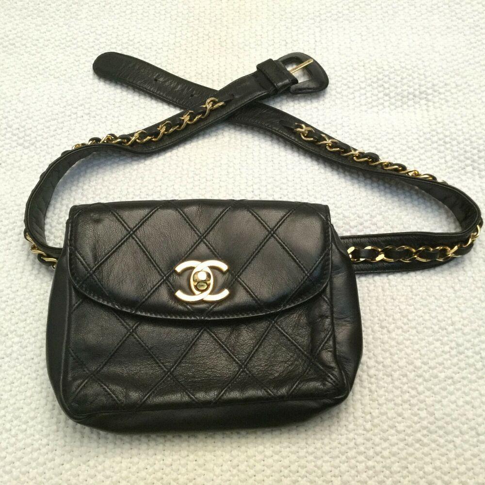 ab9842df0cb85c CHANEL CC Chain Belt Waist Bum Bag Fanny Pack Black Leather Vintage ...