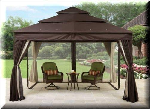 Outdoor Gazebo Canopy 12x10 With Netting Sun Panel Brown Shelter Garden Backyard US $536.75#OutdoorGazeboCanopy & Outdoor Gazebo Canopy 12x10 With Netting Sun Panel Brown Shelter ...