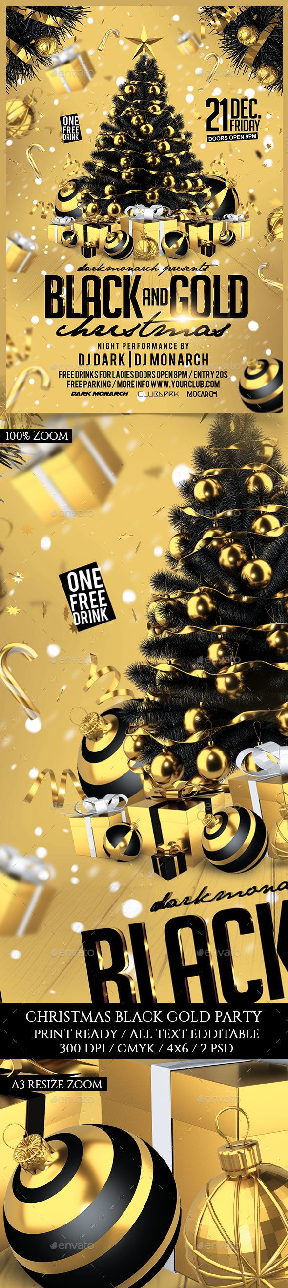Black and Gold Christmas Party Flyer Template PSD