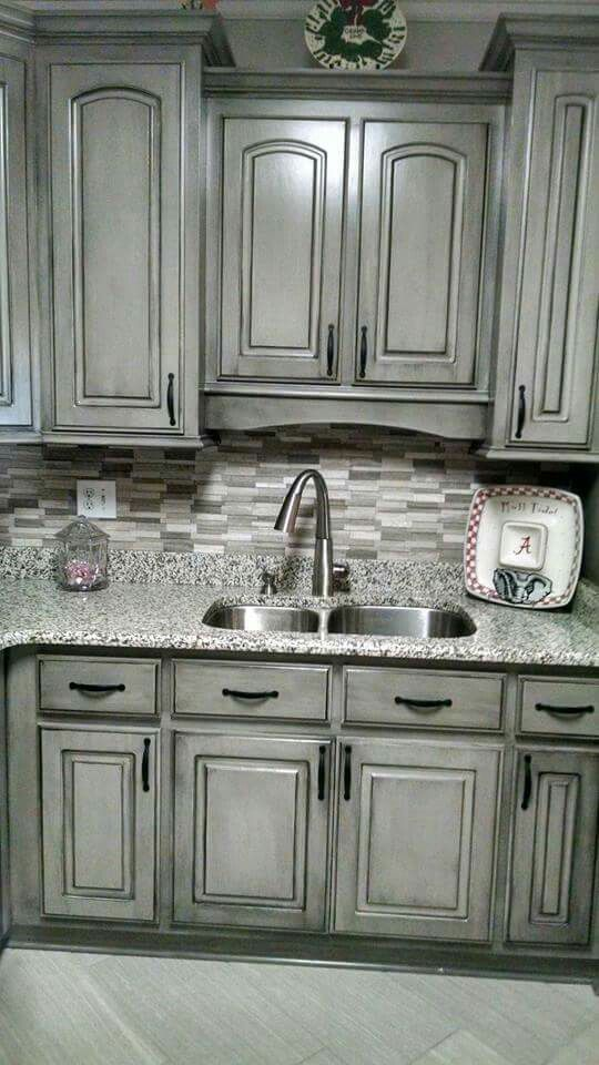 Valspar Aspen Grey And Black Glaze Kitchen Cabinets Makeover
