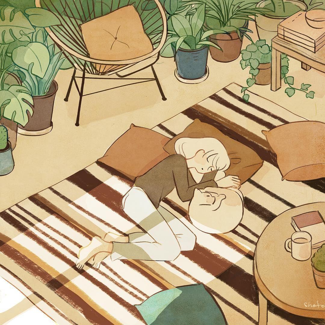낮잠 Taking a nap - #draw #drawing #paint #painting #art #illust #illustration  #afternoon #그림 #イラスト #plants   Cute art, Girls cartoon art, Cute drawings