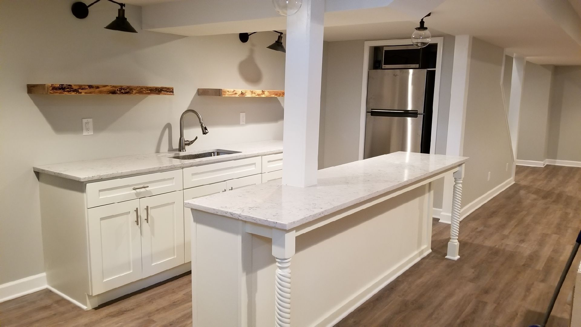 white shaker cabinets in south overland park . new basement