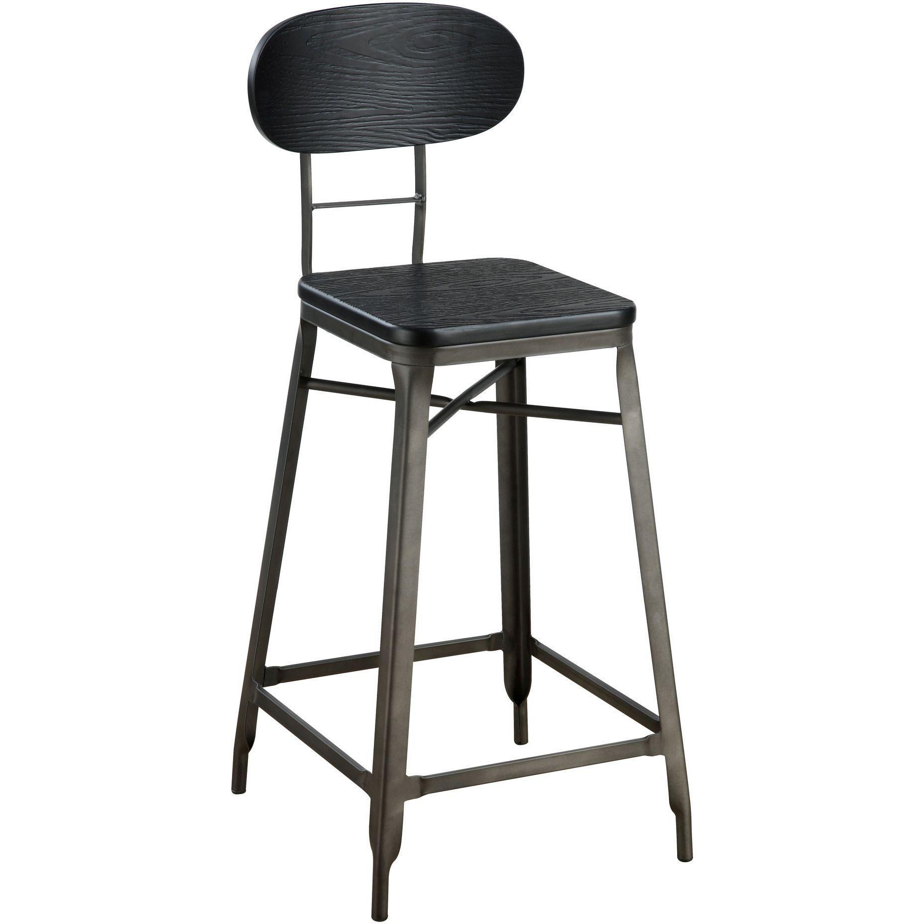 Privett Industrial 24 Inch Bar Chair Set Of 2 In Dark Steel