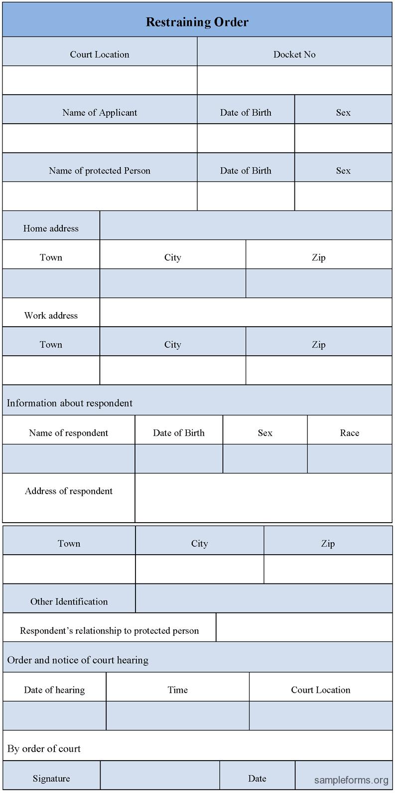 Print Restraining Order Forms  Restraining Order Form Sample