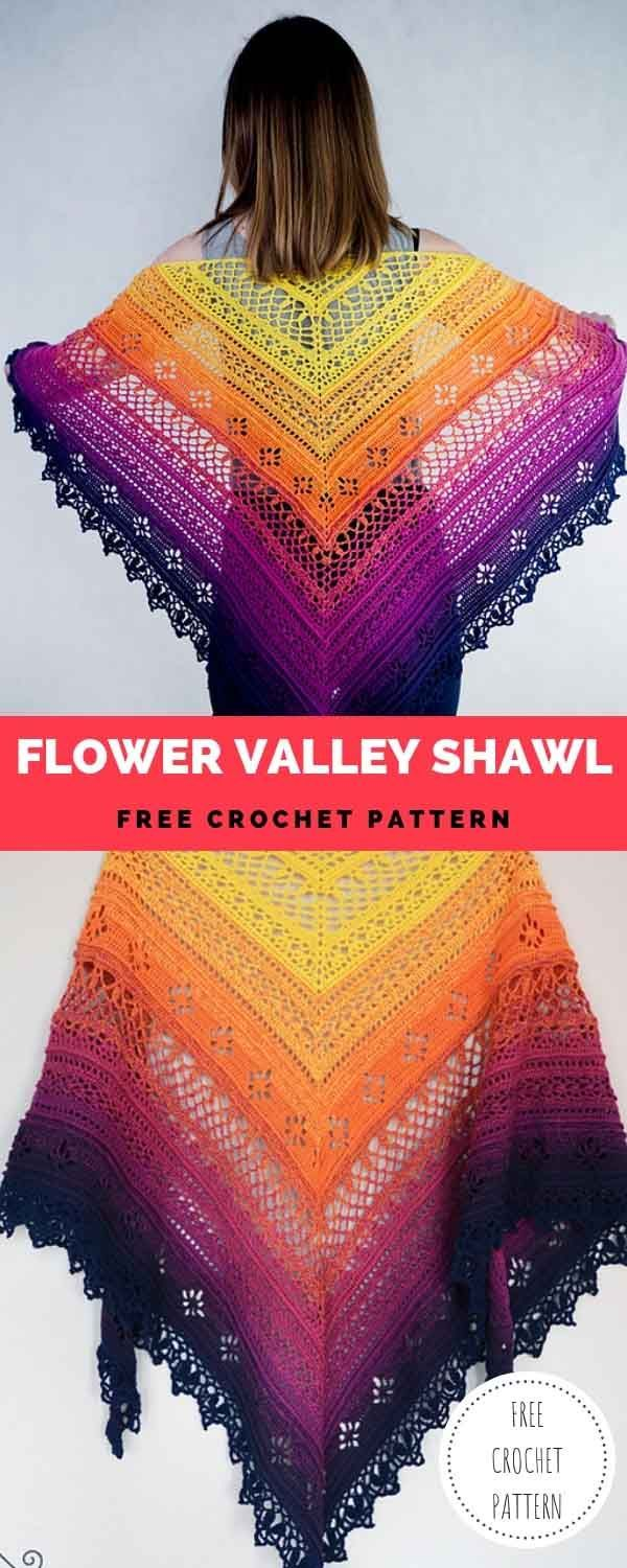 Flower Valley Shawl [Free Crochet Pattern #minioncrochetpatterns