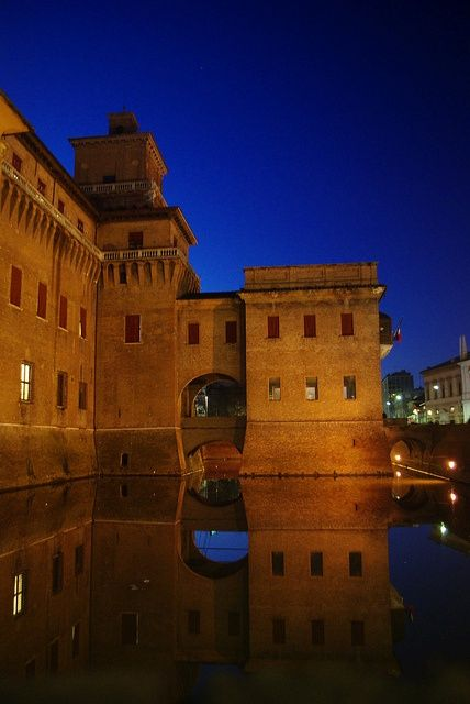 The Castle Estense or Castle of Saint Michele is a moated medieval structure in the center of Ferrara, northern Italy. It is a large block with four corner towers.