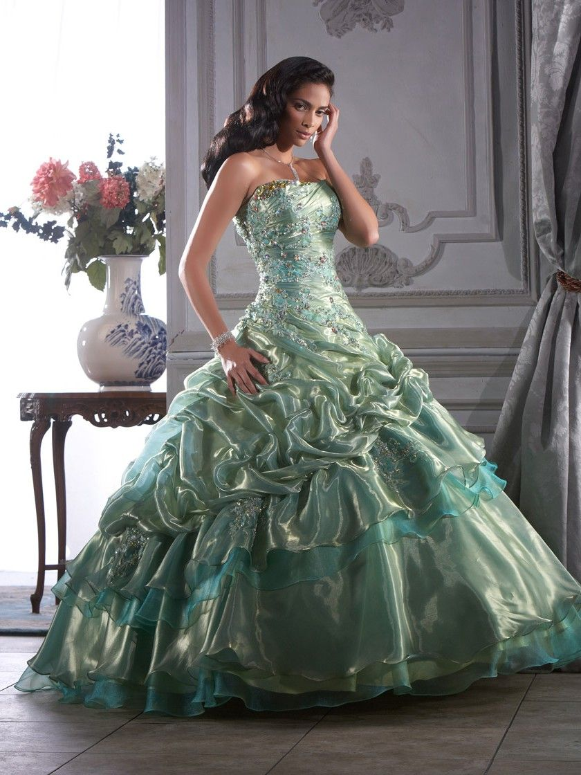 3d19854e669 Appliques Pick Ups Sequins Ball Gown Organza Prom Dress picture 1 ...